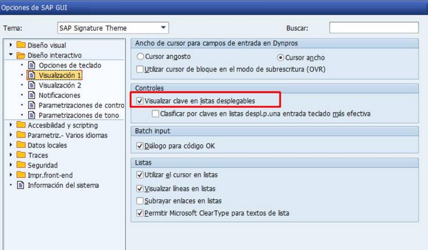 Claves en listas desplegables - configuracion
